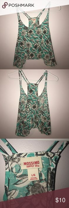 Teal flowy floral crop top Teal flowy floral crop top Mossimo Supply Co Tops Crop Tops