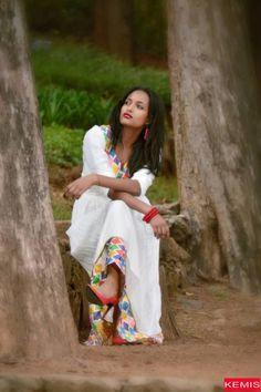 Ethiopian dress habesha dress traditional modern clothing beige dress Kemisd