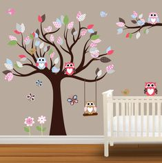 Kids Room: Cute Baby Nursery With Owl Wall Decal For Kids And White Wooden Crib: Creative Wall Decal for Kids Room for Entertainment Purpose Baby Owl Nursery, Baby Owls, Nursery Room, Girl Nursery, Girl Room, Kids Bedroom, Baby Room, Nursery Wall Stickers, Kids Wall Decals