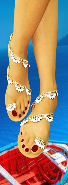 Suitable for bridal sandal ! Handmade women flat leather sandals decorated with Italian made gold plated braid (hand sewn, with white opal and transparent crystals). Visit our upgraded web store and get OFF all your purchases ! Hot Shoes, Crazy Shoes, Me Too Shoes, Cute Sandals, Shoes Sandals, Greek Sandals, Flats, Pretty Sandals, Heels