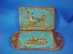 Antique German Micro Beaded Beadwork Wallet Leather Horses