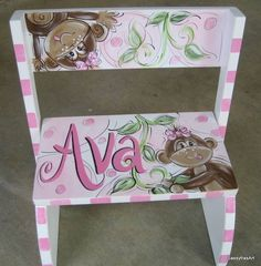 Hand Painted Girl Monkey Flip Step Stool. $49.99, via Etsy.