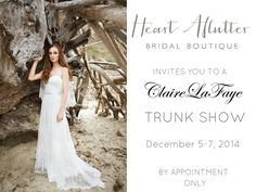 Claire La Faye Trunk Show, @HeartAflutter Bridal Boutique, Netil House, #Hackney # London / 5th -7th December. Book your appointment now. #wedding #weddingdress #weddinggown #boho #bohobride #bridetobe #bridal #bohemianbride #trunkshow