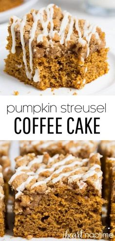 This pumpkin coffee cake is delicious straight out of the pan. The pumpkin spiced streusel on top is what makes it truly divine. The maple glaze is optional, but I totally recommend it. #pumpkin #pumpkinrecipes #pumpkincake #pumpkindesserts #fall #fallrecipes #cake #coffeecake #streusel #streuseltopping #desserts #recipes #iheartnaptime