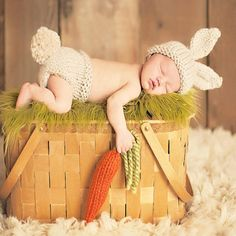 88799004d4f12 Crochet Knit Costume Photo Rabbit Baby Cap and Hat – My Baby Photo Props  Knitted Baby