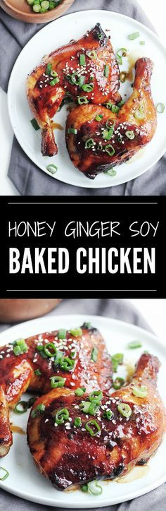 The most tender, juiciest baked chicken recipe. The skin is packed with Asian-influenced flavours and leaves you craving for more with each bite! This Honey Ginger Soy Baked Chicken is the perfect easy recipe to make for a simple dinner for two or a large get-togethers. Best Baked Chicken Recipe Ever, Juicy Baked Chicken, Baked Chicken Recipes, Chicken Meals, Asian Chicken, Meals For Two, One Pot Meals, Dinner Recipes, Sweets Recipes