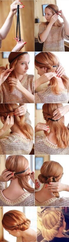 Ringlet Headband Hairstyle - really easy and fast to do!