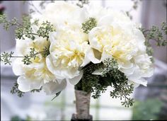 Rebecca Cole GROWs NYC | White peonies bridal bouquet with a French tie.