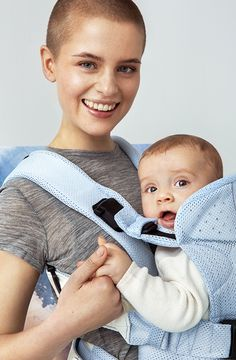 BABYBJÖRN Baby Carrier One Air Ice-blue fish, Mesh  From BABYBJÖRN - The watercolor collection, Spring 2016