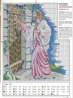 Christ stands at the door to your heart and knocks. Cross Stitch Angels, Cross Stitch Needles, Cross Stitch Charts, Cross Stitch Designs, Cross Stitching, Cross Stitch Embroidery, Embroidery Patterns, Religious Cross Stitch Patterns, Faith Crafts