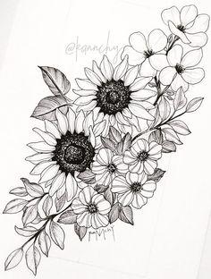 sunflower tattoos, flower thigh tattoos, back thigh tattoo, floral hip tattoo Tattoo Girls, Girl Tattoos, Tatoos, Tattoo Drawings, Body Art Tattoos, Sleeve Tattoos, Tattoo Sleeves, Tattoo Sketches, Henna Tattoos