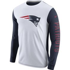 86f1c618854 Nike Champ Drive 2.0 Long Sleeve Tee-White Navy Jersey Patriots