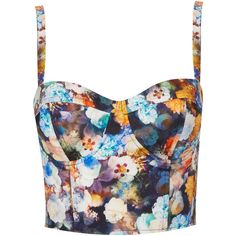 TOPSHOP Multi Flower Print Corset (505 MXN) ❤ liked on Polyvore featuring tops, shirts, crop tops, bralet, topshop, multi, bralette tops, floral top, corset crop top and floral corset