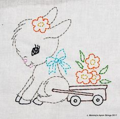 Paper Embroidery Patterns Vintage Donkey Cart with Flowers Machine Embroidery Design 2 sizes, or colorwork linework, I - Hungarian Embroidery, Folk Embroidery, Embroidery Transfers, Paper Embroidery, Learn Embroidery, Machine Embroidery Patterns, Vintage Embroidery, Hand Embroidery Designs, Embroidery Stitches