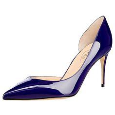 EKS Damen Fllosace Stilettos spitze Zehe Pumpen-Schuhe Blau 38 EU - Damen pumps (*Partner-Link)