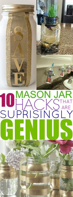 These 10 Mason Jar hacks are great to use around the house! I never knew about these hacks until I read this post! Pot Mason, Mason Jar Gifts, Mason Jar Diy, Uses For Mason Jars, Mason Jar Bank, Mason Jar Garden, Diy Mason Jar Lights, Chalk Paint Mason Jars, Painted Mason Jars