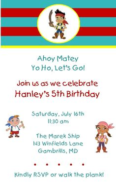 Jake and the Neverland Pirates Party Invitations, Goodie Bag Stickers, Thank You Notes and More. $22.00, via Etsy.