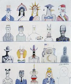 The New Yorker Cover - October 1975 Poster Print by Saul Steinberg at the Condé Nast Collection The New Yorker, New Yorker Covers, Saul Steinberg, Capas New Yorker, Handwritten Text, Saul Bass, Smart Set, Ligne Claire, Illustrations