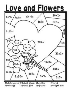 Free Heart Color By Number Multiplication
