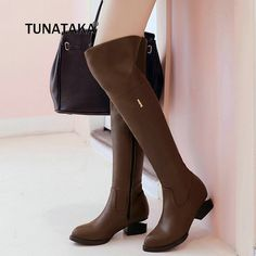 0849d18ff114 Women Thick High Heel Thigh Boots Fashion Side Zipper Over The Knee Pointed Toe  Shoes Woman Black Brown