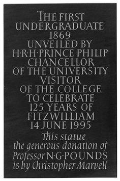Photograph of commemorative plaque, Fitzwilliam College, Cambridge. Welsh slate.