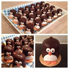 Easy marshmallow penguins - cute Christmas food idea for kids - they make great party food treats - Eats Amazing UK Cute Snacks, Party Snacks, Cute Food, Awesome Food, Yummy Treats, Sweet Treats, Yummy Food, New Years Eve Food, Food Humor