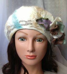 small white beret felted nunofelt designer hat by Tatiana123, $70.00