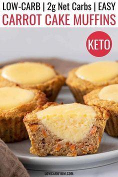 Gluten Free Carrot Muffins, Muffins Sans Gluten, Carrot Cake Muffins, Carrot Cake Cheesecake, Low Carb Cheesecake, Cheesecake Recipes, Low Carb Sweets, Low Carb Desserts, Vegan Desserts