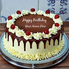 Flower Birthday Cake with name Birthday Cakes For Men, Birthday Cake Write Name, Happy Birthday Cake Pictures, Birthday Cake Writing, Birthday Wishes Cake, Birthday Cake With Flowers, Flower Birthday, Gold Birthday, 16th Birthday