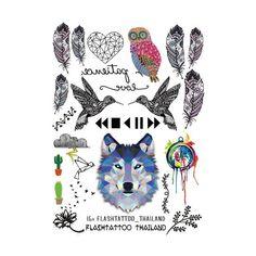 Taty Grandi Tatuaggi Temporanei Body Art Uomini Donne Fashio Gufo Tatuaggio Carta Colorata Piume Lupo Autoadesivo Del Tatuaggio All'ingrosso