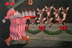 #1378 50s Glittered Santa Spoils His Reindeer! Deer- Vtg Christmas Card-Greeting