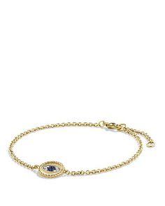 $David Yurman Pavé Cable Evil Eye Charm with Blue Sapphire, Diamonds & Black Diamonds in Gold - Bloomingdale's $975