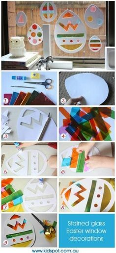 Craft instructions for stained glass Easter window decorations. Easter Activities, Craft Activities, Preschool Crafts, Spring Crafts, Holiday Crafts, Holiday Fun, Easter Art, Hoppy Easter, Easter Eggs