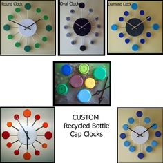 Clocks made from plastic bottle caps!