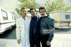 Don Johnson, Philip Michael Thomas and Edward James Olmos on the set of TV Show Miami Vice circa 1985 in Miami, Florida.