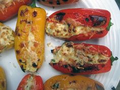 Peppers Stuffed With Feta.  The recipe is pretty straightforward and simple. The filling is a creamy, tangy, and tart mixture of feta, Greek yogurt, and lemon zest. The ingredient list calls for Fresno or Anaheim chiles, which are more sweet than hot, so you can serve this vegetarian dish to people who don't like spicy foods. It's a wonderfully scrumptious appetizer.