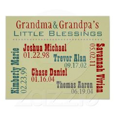 Another great gift for Grandparents on its way for Christmas! Grandma and Grandpa's Grandkids Names Birthdays Poster
