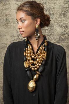 Monies Earrings, Gilt, Wood & Pearls (Part 1)