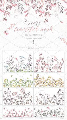 Watercolor floral edges+backgrounds by Glanz on @creativemarket