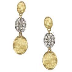 18k Yellow Gold & Diamond Pave Triple Drop Earrings - OB1234-B-YW