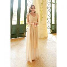 Junoesque Solid Color Empire Waist Chiffon Maxi Dress For Women