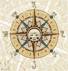 brujula antigua: El vector de imagen Compass Rose ilustración