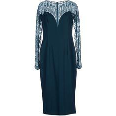 Zuhair Murad Knee-length Dress (£975) ❤ liked on Polyvore featuring dresses, deep jade, long sleeve knee length dress, zuhair murad, long sleeve dresses, blue long sleeve dress and longsleeve dress