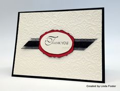 elegant thank you card with red, black & white