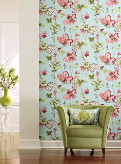 Whimsical Garden Wallpaper in Peach and Blue design by Carey Lind for York Wallcoverings Modern Wallpaper Designs, Contemporary Wallpaper, Designer Wallpaper, Interior Garden, Home Interior Design, Watercolor Wallpaper, Transitional Living Rooms, Burke Decor, Blue Design