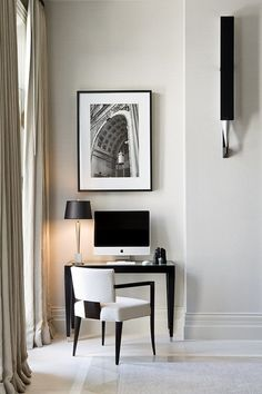 Like the print! Elegant black and white desk nook - perfect for a small condo or bedroom