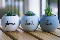 This is a set of 3 small planters painted a gray-blue ombre. If you would like to customize your planters, please send me a message.  ***PLANTS NOT INCLUDED