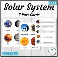 Solar System and Planets Editable Vocabulary 3 Part Cards - Montessori Vocabulary Wall, Toddler Pictures, Asteroid Belt, Dwarf Planet, Picture Cards, Matching Games, Solar System, Helping Others, Montessori