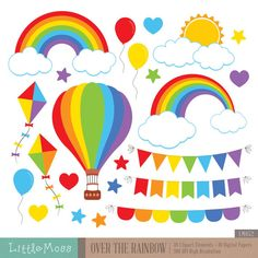 Over The Rainbow Clipart by LittleMoss on Etsy Rainbow Parties, Rainbow Birthday Party, Rainbow Theme, Over The Rainbow, Design Blog, Web Design, Party Banner, Rainbow Clipart, Diy And Crafts