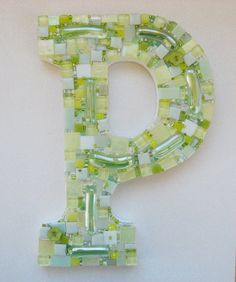 "OOAK Mosaic Art Initial Letter ""P""  Alphabet Stained Glass tiles and Pale Green & Yellow Sparkly beads a Great Gift"